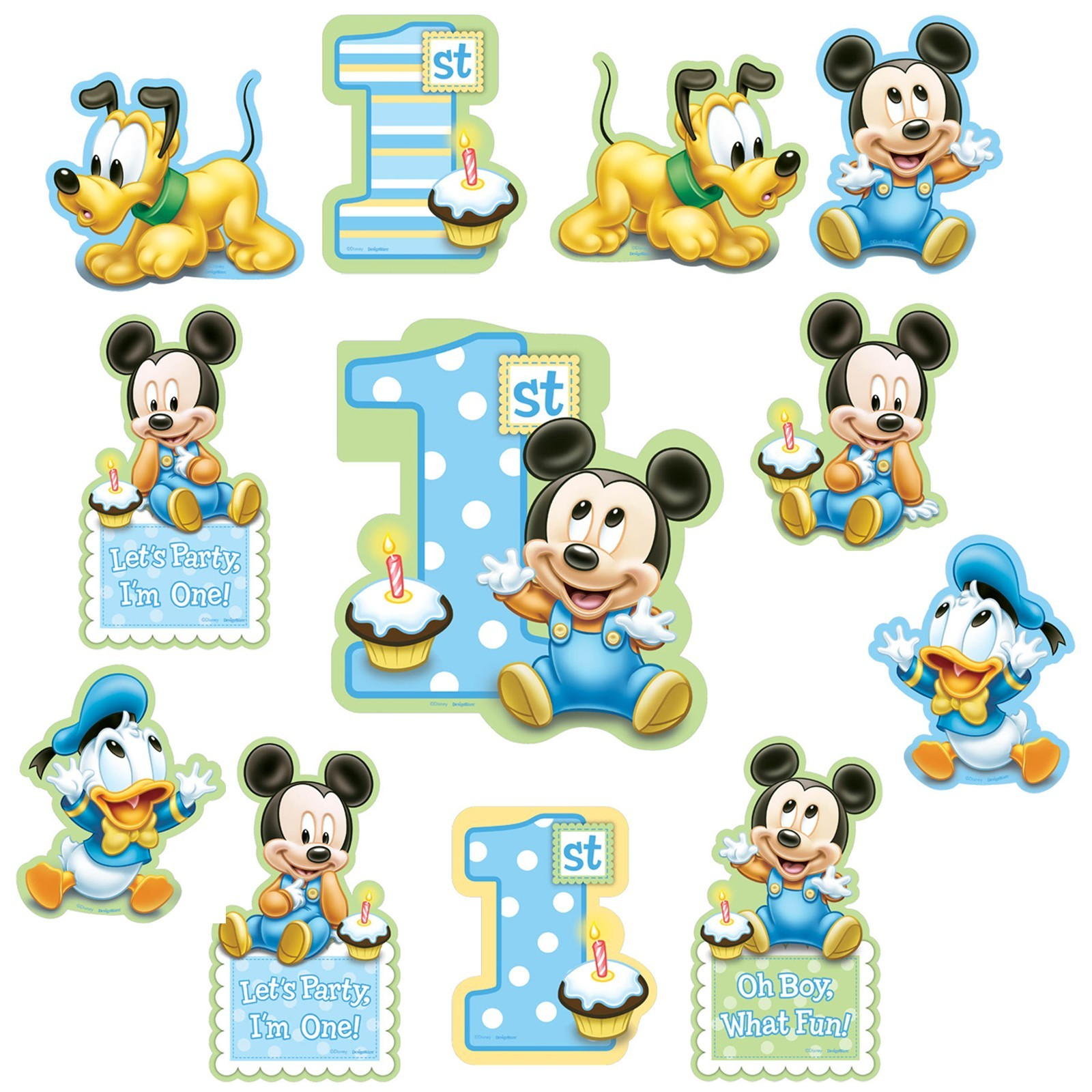 Mickey Mouse 1st Birthday Cutouts 12 Pcs